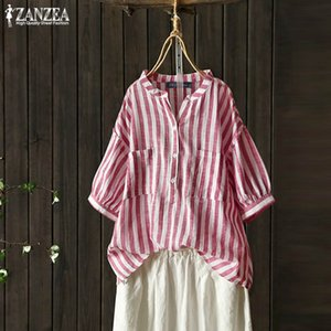 ZANZEA 2020 Summer Striped Tee Shirts Women's Linen Blouse Vintage Button Down Chemise Female Puff Sleeve Blusas Casual Tunic