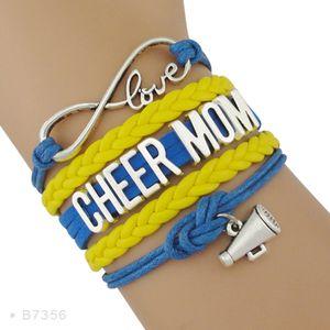 Alta qualità Infinity Amore Cheerleader megafono fascino squadra incoraggiante Cheer squadra Cheer Bracciali mamma per le donne