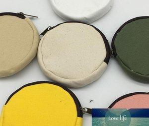 10pcs Women DIY Blank Round canvas zipper pouches cotton Coin Purses Mix color