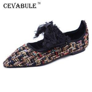 CEVABULE Bahar Renk Eşleştirme Bayanlar Tek Ayakkabı Moda Sivri Dikiş Kadın ayakkabı Mizaç Kadın Düz CGB