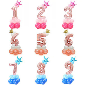 17pcs 1st Birthday Balloon Number Foil Balloons Happy Birthday Party Decoration Rose Gold Pink Crown Wedding Ballon Supplies