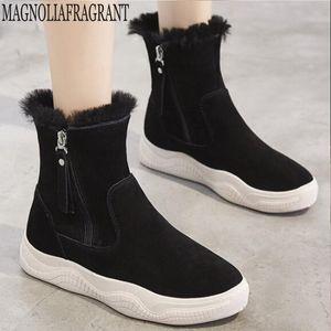Botas de mujer incremento fijo dentro de las botas del tobillo caliente del cuero genuino del Slip-On nieve de las señoras de moda mujer ocio de los zapatos Y187