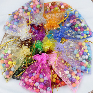 Sparkly 100 Piece Lot Organza Jewelry Gift Pouch Bags For Wedding favors,beads,jewelry bag Candy bags package bag mix color Favor Holders