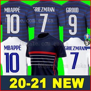 2020 Frankreich Mbappe Griezmann Pogba Jerseys 2021 Fußball Jersey Fußballhemden maillot de foot Männer + Kinder-Kit