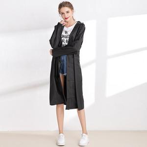 Translúcida esmerilado y espesado con capucha para mujer impermeables informal Las mujeres Ropa para mujer de color sólido diseñador de moda abrigo impermeable
