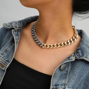 Goth Gold Silver Color Chain Necklace For Women Punk Collares Simple Design One Piece Choker Necklace