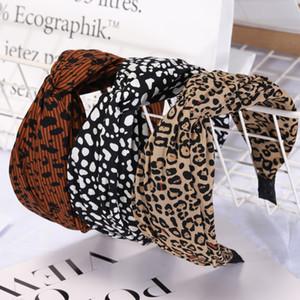 Cabello Moda Leopard Sticks chicas grandes Wid Lazo cruzado Hairbands para mujer bandas para la cabeza A4305 Señora cabritos del estilo de accesorio para el pelo
