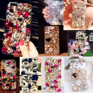 Bling Lovely Crystal Diamonds Rhinestone 3D Stones Phone Case Cover for iphone 7 7Plus 6 6S for Samsung Galaxy S5 6 7 EDGE