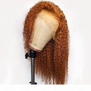 PAFF colore arancione parte anteriore del pizzo Ricci Lunghi piena del merletto reale dei capelli umani parrucca per le donne Ginger Remy brasiliano Pre a pizzico