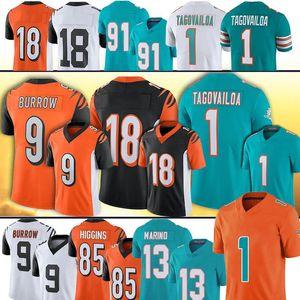 9 Joe Burrow CincinnatiBengala Jersey 1 Tua Tagovailoa Dan Marino A.J. Verde CeeDee Lamb Tee Higgins MiamiDolphin calcio jeresy