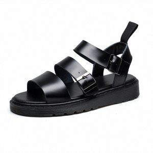 Doc Leather Sandals Women Summer Soft Martins Shoes Buckle Strap Ladies Sandalias Slippers Plus Size Women Casual Roman Sandals Sandel hqXj#