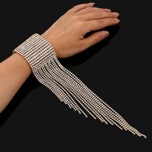 Tassel Tennis Chain Bracelets Iced Out Crystal Rhinestone Charm Bracelet Bling Bangle Women Fashion Luxury Silver Gold Wedding Jewelry Gift