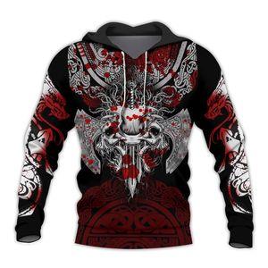 Liumaohua Guerrero de Viking tatuaje 3D impresos camisas 3D casual Imprimir camisas / camisetas de la cremallera Hombre / Mujer Moda sudaderas