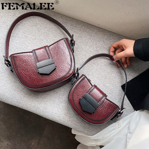 Half Round PU Leather Crossbody Bags For Women 2020 Fashion Shoulder Messenger Bag Lady Vintage Tote Handbags Saddle Bags I5r2#