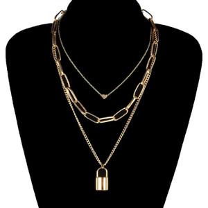 Criativa Cadeia Geometric Coração Colar de bloqueio pingente de ouro Punk Multilayer Clavícula colares para Mulheres Moda Neck Jóias