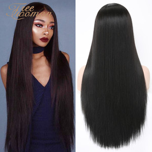 FREEWOMAN Synthetic Lace Front Wig Black Natural Silk Wig Fake Hair Extension Wigs For Women Black False Hair Daily Party