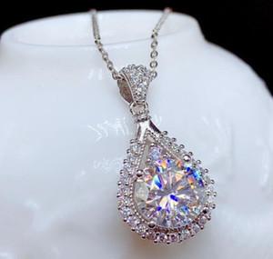 Sterling Silber S925 1CT Moissanite Diamant-Halsketten-Anhänger Silber Kette Hochzeits-Verpflichtungs-Frauen Ausgezeichnete Cut Hip Hop Punk Geschenk
