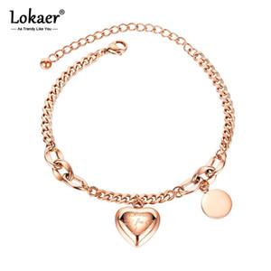 Lokaer dell'acciaio inossidabile di modo di amore del cuore modifica rotonda di fascino per le donne ragazze Boemia del braccialetto Chain B20097 Jewelry