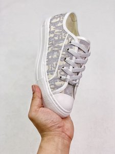 Dior Embroidered canvas shoes del diseño de los zapatos ocasionales con cordones de la lona cómodos luxe pasarela plena flor de piel de oveja zapatillas de deporte interiores