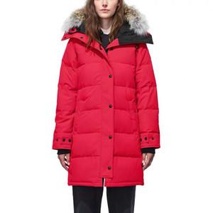 Nouvelle veste en duvet des femmes de mode design, long manteau parka d'hiver, femme fourrure grande oie loup veste vers le bas