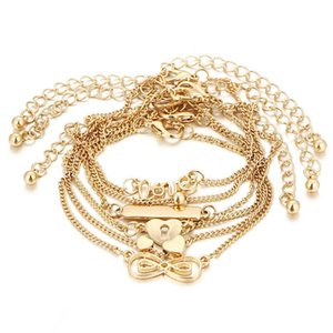 GERUISHA 6PCS Ankle Bracelet Set Boho Jewelry Bohemian Gold Chains Infinity Double Heart Love Lock Charm Bracelets For Women Ank