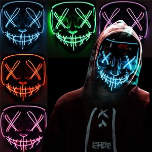 LED luminous mask EL cold light mask V-shaped blood horror Halloween fluorescent atmosphere bungee props AAB1080