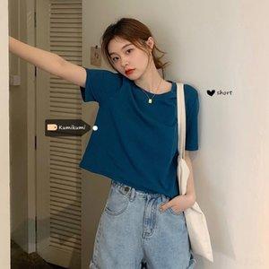8ekt7 couleur unie manches courtes base courte amincissant occidentale ins femmes loose style coréen 2020 été nouveau T-sh mode Top shirt top- style T