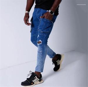 Packet ile Erkek Pantolon Fermuar Fly Sokak Stili Uzun Erkek Pantolonları Erkek Tasarımcı Kalem Jeans Gradyan Stretch Skinny