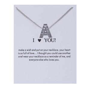 A-Z Letter Initials Charm Necklace For Women Girls Fashion Jewelry Sexy Silver Necklaces Gifts For Friends Sisters Wish Card Chain Necklaces
