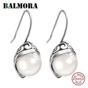 Balmora 925 Sterling Silver Simulado Pérola Gota Dangle Brincos Presentes Mulheres Lady Retro jóia elegante Brincos