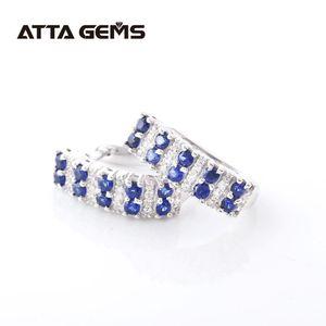 Blue Sapphire Silver Earring for Women Fine Jewelry Created Sapphire Stone Round Cut Classic Design Women's Favorite Earring