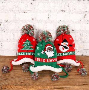 Per i bambini, Cappello di lana inverno caldo pile foderato Berretti Lettere ricamo Berretti per bambini tappo di Natale Neve Cappelli Ear Muff Cappelli D91005
