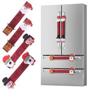 4pcs / set Natal Frigorífico porta Handle Covers de Santa Snowman Kitchen Appliance Covers Frigorífico Microondas Máquina de lavar loiça Handle Protector