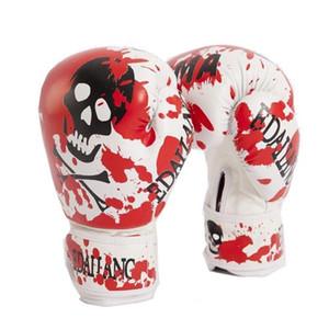 Crânes rouges Femmes / Gants de boxe pour hommes pour Muay Thai / MMA / Karaté / Taekwondo Guantes 10 onces