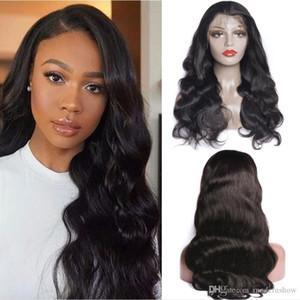 MS 4 * 4 Body Human Hair Hair Swiss Dentelle Fermeture Perruque 10-30 Cheveux Humains Rempe Rempine Avec Baby Cheveux 150% Densité Perruques préalables