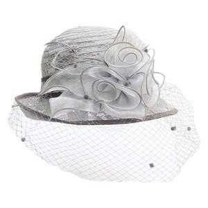 Retro Lace Donne cappello a cloche Mesh Velo floreale Wedding Fascinator Cap 449F