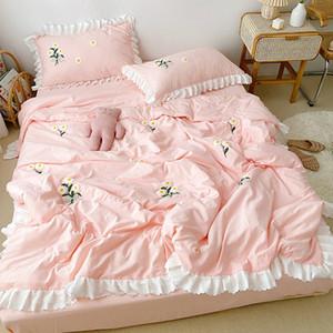 Conjuntos Conjuntos Flor de Quilt de Verão Bordado Lavado Algodão Jogar Cobertor Soft ColchaRad Rosa Bonito Cama de Cama 3 Pcs para meninas