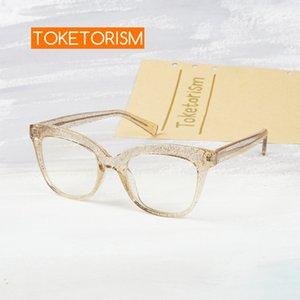 Toketorism nuevo bloqueo de la luz anteojos de la mujer fahsion azul marco de los vidrios de alta calidad