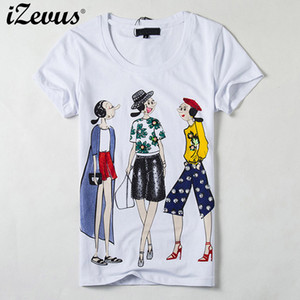 IZEVUS Women Short Sleeve T shirt Design Women Tops Slim Sequined Three Cartoon Girl Print T-shirts Comfortable Top Ladies Shirt 200924