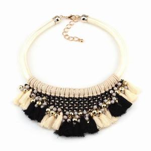 2020 Statement Chunky Bead Neon corda colorata catena intrecciata in pelle collana di modo di disegno delle donne Collana di nuovo di marca