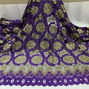 Latest Fashion 5 Yards African Lace Fabrics 2020 High Quality Embroidered Beaded French Tulle Guipure Lace Fabric. ZQ88. ZQ88307
