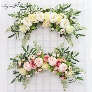 Artificial wreath door threshold flower DIY wedding home living room party pendant wall decor Christmas garland gift rose peony Cl200919