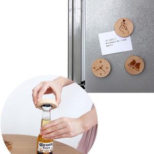 50PCS خشبية مستديرة الشكل زجاجة فتاحة كوستر مغناطيس الثلاجة ديكور زجاجة بيرة فتاحة شعار مخصص