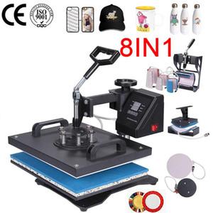 8 in 1 Hitze-Presse-Maschine für Platte / Becher / Cap / TShirt Etc, Presse Drucker, Multifunktio Sublimation-Hitze-Presse / Wärmeübertragung-Maschine