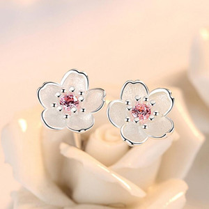 Silver 925 Jewelry Sterling Silver Earrings Cherry Blossom Inlaid Pink Zirconia Ear Studs Simple and Popular Earrings for Women