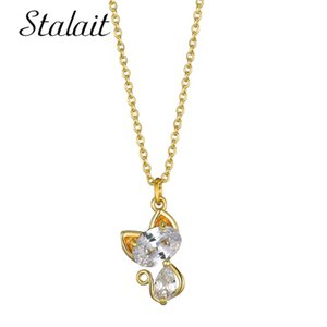 2020 Trendy Cute Cat Initial Necklaces For Women Gold-color Chunky Zirconia Pendant Necklace O-chain Bridesmaid Gift