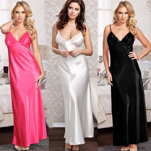 Sexy dentelle femmes Chemises de nuit Mode Spaghetti Strap V Neck Solide Couleur Taille Plus Femmes De Nuit Vêtements de nuit