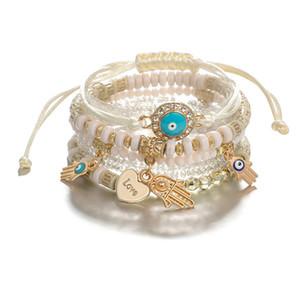 6 шт / комплект Чешского бисер браслеты для женщин Многослойной Stretch стекируемого браслета Многоцветных ювелирных изделий.