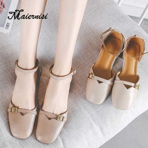 MAIERNISI saltos baixos Sandals Mulheres Ankle Strap Shoes Feminino Plus Size 33-43 Bombas Heels Shoes New diárias sandálias