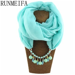 [RUNMEIFA] Summer Spring Scarf Necklace Women's Shawls and Scarves Jewelry Pendant Scarfs Bufandas Mujer Female Beach